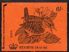 Booklet - Great Britain 1968-70 Birds - Wren (red cover Apr 1970) 6s booklet complete and fine, SG QP53