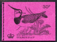 Booklet - Great Britain 1971-73 Birds #2 - Lapwing (purple cover June 1971) 30p booklet complete and fine, SG DQ58