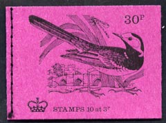Booklet - Great Britain 1971-73 Birds #4 - Pied Wagtail (purple cover Feb 1972) 30p booklet complete and fine, SG DQ62