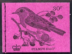 Booklet - Great Britain 1971-73 Birds #3 - Robin (purple cover Oct 1971) 30p booklet complete and fine, SG DQ60