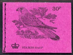 Booklet - Great Britain 1971-73 Birds #5 - Kestrel (purple cover June 1972) 30p booklet complete and fine, SG DQ64