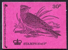 Booklet - Great Britain 1971-73 Birds #7 - Skylark (purple cover Apr 1973) 30p booklet complete and fine, SG DQ70
