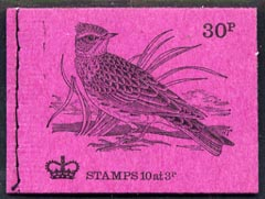 Booklet - Great Britain 1971-73 Birds #7 - Skylark (purple cover Feb 1973) 30p booklet complete and fine, SG DQ69