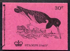 Booklet - Great Britain 1971-73 Birds #8 - Oyster-Catcher (purple cover Aug 1973) 30p booklet complete and fine, SG DQ72