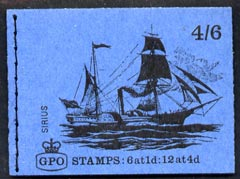 Booklet - Great Britain 1968-70 Ships - Sirius 4s6d booklet (Mar 1969) complete and fine SG LP50