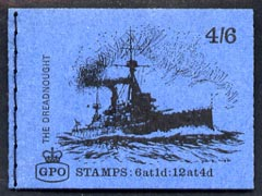 Booklet - Great Britain 1968-70 Ships - Dreadnought 4s6d booklet (July 1969) complete and fine SG LP52
