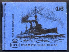 Booklet - Great Britain 1968-70 Ships - Dreadnought 4s6d booklet (Sept 1969) complete and fine SG LP53