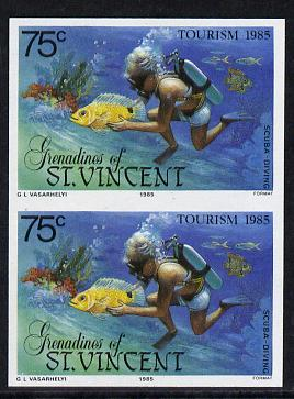 St Vincent - Grenadines 1985 Tourism Watersports 75c (Scuba Diving) imperf pair unmounted mint (SG 388var)