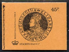 Booklet - Great Britain 1973-74 British Coins #3 - Elizabeth Gold Crown 45p booklet (Sept 1974) complete and fine, SG DS1, stamps on coins