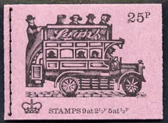 Booklet - Great Britain 1971-73 Veteran Transport #2 - B-Type Omnibus (Lyons Tea) 25p booklet (June 1971) complete and fine, SG DH41