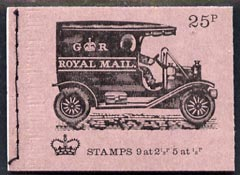 Booklet - Great Britain 1971-73 Veteran Transport #4 - Mail Van 25p booklet (Feb 1972) complete and fine, SG DH44