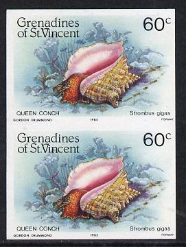 St Vincent - Grenadines 1985 Shell Fish 60c (Queen Conch) imperf pair unmounted mint, SG 361var