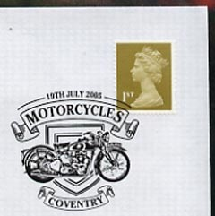 Postmark - Great Britain 2005 cover celebrating Mororcycles with illustrated Coventry cancel (showing a Triumph)