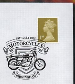 Postmark - Great Britain 2005 cover celebrating Mororcycles with illustrated Birmingham cancel (showing a BSA)