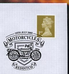 Postmark - Great Britain 2005 cover celebrating Mororcycles with illustrated Redditch cancel (showing a 1914 Royal Enfield)