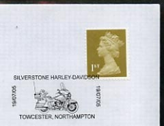Postmark - Great Britain 2005 cover celebrating Mororcycles with illustrated Silverstone cancel (showing a Harley Davidson)