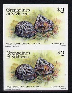 St Vincent - Grenadines 1985 Shell Fish $3 (West Indian Top Shell) imperf pair unmounted mint, SG 363var
