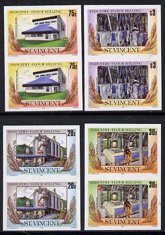 St Vincent 1985 Flour Milling set of 4 each in unmounted mint imperf pairs (SG 928-31var)