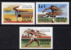 Sierra Leone 1984 Los Angeles Olympics set of 3 unmounted mint, SG 788-90