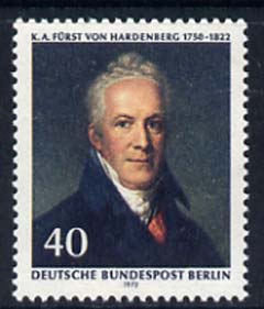 Germany - West Berlin 1972 Death Anniversary of Karl August von Hardenberg (statesman) unmounted mint, SG B429