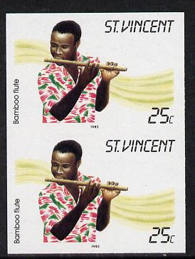 St Vincent 1985 Musical Instruments 25c (Bamboo Flute) imperf pair (SG 905var), stamps on music, stamps on musical instruments