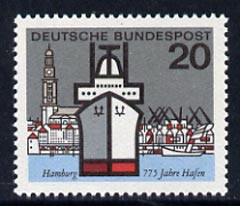 Germany - West 1964 Hamburg (Liner Lichtenfels & St Michael's Church) 20pf unmounted mint, from Capitals of the Federal Lands set of 12, SG 1331