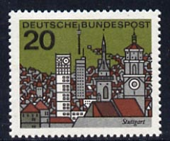 Germany - West 1964 Stuttgart Town View 20pf unmounted mint, from Capitals of the Federal Lands set of 12, SG 1340