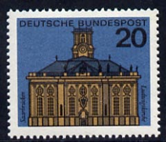 Germany - West 1964 Ludwig's Church Saarbrucken 20pf unmounted mint, from Capitals of the Federal Lands set of 12, SG 1340a, stamps on architecture