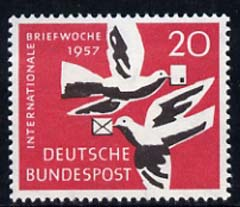 Germany - West 1957 International Correspondence Week 20pf (Carrier Pigeons) unmounted mint, SG 1195