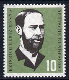 Germany - West 1957 Birth Cent of Heinrich Hertz (physicist) 10pf unmounted mint, SG 1178