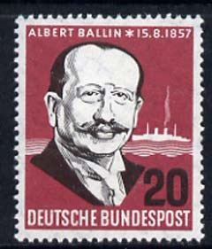 Germany - West 1957 Birth Cent of Albert Ballin (Dir of Hamburg-America Shipping Line) unmounted mint, SG 1184