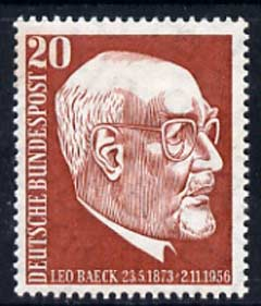 Germany - West 1957 first Death Anniversary of Dr Leo Baeck (philosopher) 20pf unmounted mint, SG 1197