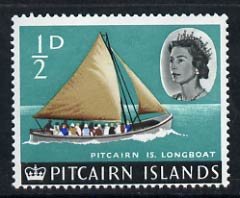Pitcairn Islands 1964-65 Longboat 1/2d unmounted mint from def set of 13, SG 36