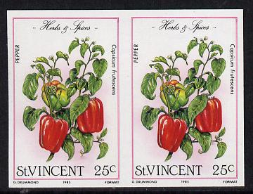 St Vincent 1985 Herbs & Spices 25c (pepper) imperf pair (SG 868var), stamps on food      herbs & spices