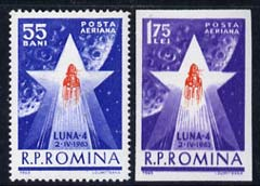 Rumania 1963 Launch of Luna 4 set of 2 (1 perf, 1 imperf) unmounted mint, SG 3010-11