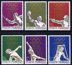 Rumania 1972 Munich Olympics (2nd issue) perf set of 6 unmounted mint, SG 3914-19