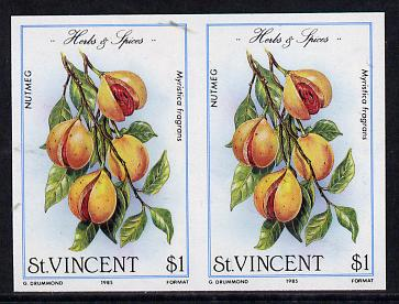 St Vincent 1985 Herbs & Spices $1 (Nutmeg) imperf pair (SG 870var)