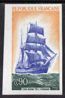 France 1972 French Sailing Ships (Cote d'Emeraude) imperf single in issued colours unmounted mint, as SG 1967