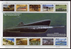 Palau 1991 Pacific Theatre in WWII (3rd issue) sheetlet of 8 unmounted mint, SG 601a