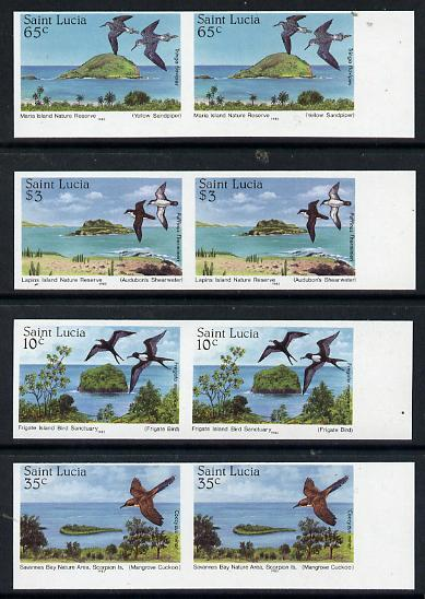 St Lucia 1985 Nature Reserves set of 4 each in unmounted mint imperf pairs (SG 820-23)
