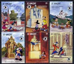 St Vincent 1989 World Stamp Expo '89 (1st Issue) showing Disney cartoon characters and US monuments - 6 vals to 10c unmounted mint, SG 1397-1402