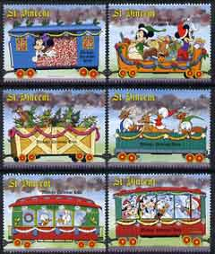 St Vincent 1988 Christmas - Mickey's Christmas Train - 6 vals to 10c unmounted mint, SG 1160-65