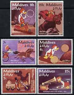 Maldive Islands 1995 History of Wheeled Transport scenes from Walt Disney's 'Donald & the Wheel' - short set of 6 vals to 25l unmounted mint, SG 2191-96