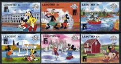 Lesotho 1988 Finlandia 88 short set of 6 vals to 10s featuring Disney characters in Finland unmounted mint, SG 810-17