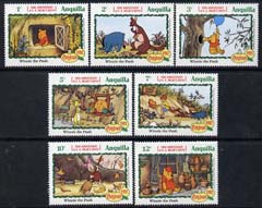 Anguilla 1982 Birth Cent of A A Milne short set to 12c unmounted mint, featuring scenes from Disneys Winnie The Pooh, SG 534-40, stamps on disney, stamps on christmas, stamps on literature, stamps on milne, stamps on teddy bears, stamps on honey, stamps on birds of prey, stamps on owls