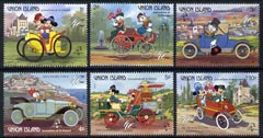 St Vincent - Union Island 1989 Philexfrance '89 short set to 10c showing Disney characters in various vintage cars unmounted mint