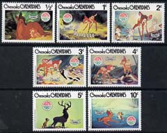Grenada - Grenadines 1980 Christmas short set to 10c featuring scenes from Walt Disneys Bambi unmounted mint, SG 415-421
