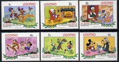 Lesotho 1983 Christmas short set to 6s with Walt Disney characters in scenes from Old Christmas unmounted mint, SG 554-59