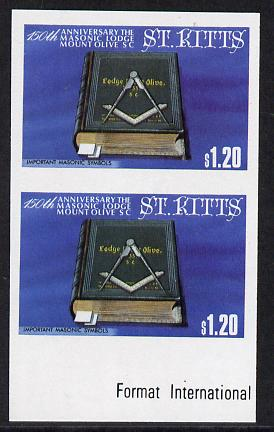 St Kitts 1985 Masonic Lodge $1.20 (Masonic Symbols) unmounted mint imperf pair (SG 179var)