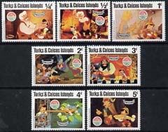 Turks & Caicos Islands 1980 Christmas short set to 5c (7 vals) unmounted mint showing scenes from Walt Disney